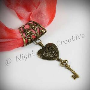 Handmade Scarf Ring, Scarf Clip, Antique Bronze Heart Key Pendant FREE Pouch