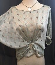 COLLETTE DINNIGAN Silk Semi See-Through 1 Of 25 Design Bat Wing Floral Blouse S