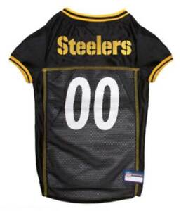 Pets First NFL Pittsburgh Steelers Screen Printed Mesh Dog Jersey - Black/Yellow