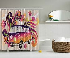 Hippie Van Caravan Peace Symbol Boho Decor Shower Curtain Extra Long 84Inch