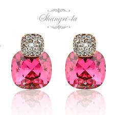9K 9CT GOLD FILLED Rose Pink BIRTHSTONE Stud EARRINGS Swarovski CRYSTAL DY4544