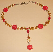 Red Coral and Golden Pearl Necklace