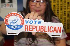 Vote Republican GOP Political License Plate Topper Gas Oil Porcelain Metal Sign