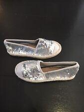 Matt Silver / Shiny Silver Mermaid Sequin Espadrilles Size 5 (38) Brand New