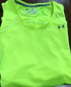 women's Under Armour sleeveless top size M neon yellow HeatGear