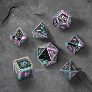 7Pcs/set Rainbow Metal Polyhedral Dice For DND RPG MTG Role Playing Game W/ Box