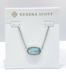 NEW Authentic KENDRA SCOTT Elisa Rhodium 483 Blue Illusion Pendant Necklace
