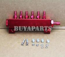 JDM Turbo Wastegate Boost Fuel Vacuum Gas Manifold Kit w/ 6 Ports 1/8 NPT Red
