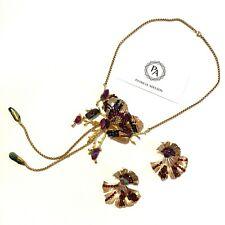 SET - Necklace + Earrings - Yellow Citrine Emerald Garnet Black Crystals
