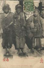 PORTRAIT OF THREE CHINESE BEGGARS IN YUNNAM (1909  post RPPC: FRENCH INDO-CHINA)