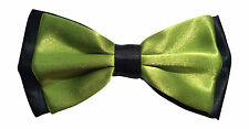 "Men's Pre-Tied Satin Bow Tie Adjustable up to 18"" Collar Olive Green on Black"