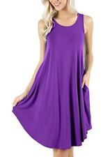Womens Plus Size Summer Party Pocket Mini Dress Holiday A-line Sundress Long Top