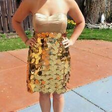 EXPRESS Gold Shiny Shimmer Strapless Prom Party Dress Sz 6