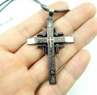 Hot Men's Black Cross Alloy Steel Pendant Necklace Chain  AA_12