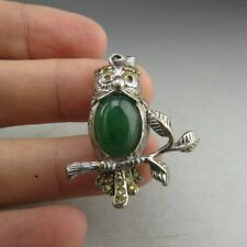 China, antique, natural jadeite jade inlay, sterling silver, owl, pendant  V178