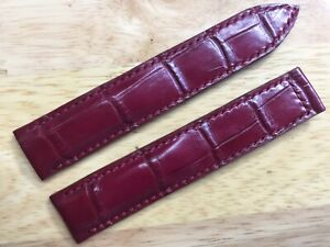 20mm Bordeaux Genuine Crocodile Leather Watch Strap Deployment Band for Omega