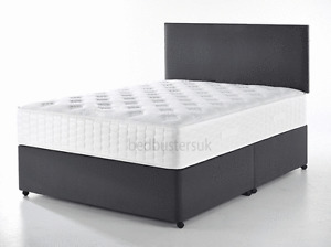 LEATHER DIVAN BED WITH MEMORY FOAM MATTRESS AND HEADBOARD 3FT 4FT6 Double 5FT