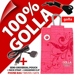 Golla Pink Phone Case Cover Pouch Bag for iPhone 3GS 4S + USB Data Charger Cable