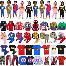 Kids Boys Girls Superhero Hoodies T-Shirts Pants Pajamas Cosplay Costume Outfits