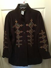 Bob Mackies Embroidered Fleece Jacket With Quilted Collar Brown Plus Size 1X