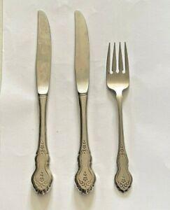 """3 Oneida Deluxe Folk Art Stainless Dinner Knife 9"""" Salad Fork 6 7/8"""" Burnished"""