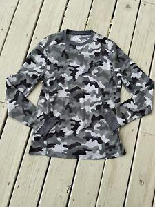 Under Armour Men Size Medium Coldgear Gray camo thermal long sleeve shirt Top