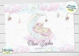 Unicorn Baby's First Year Calendar, Personalized Calendar for baby