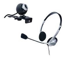 Webcam mit Headset Mikrofon für Skype Chat Videokonferenz VoIP Teams Kamera usw.