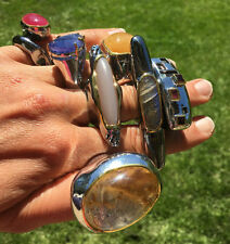 Unbehandelte Ringe im Cocktail-Stil mit echten Edelsteinen