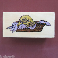 SUGARLOAF Puppy Dog with Blanket in Bed Wood Mounted Rubber Stamp Retriever