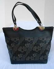 Mon Santino Vegan Faux Leather Black Floral Laser Cut Out Tote Hand Bag Purse