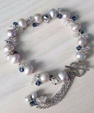 Freshwater pearl bracelets 925 sterling silver with crystals