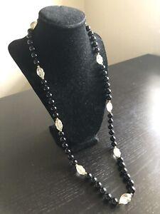 "32"" Fine Old Chinese Black Onyx Rock Quartz Crystal Stone Beaded Necklace Art"