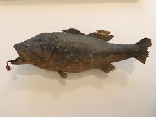 Vintage Large Mouth Bass With Lure Real Skin Taxidermy wall mount on wood