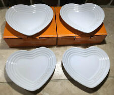 """Set of 4 """"white"""" Le Creuset Small Heart Shaped Plates Stoneware Trays"""