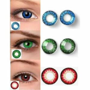 Makeup beauty item with solution case 3 Pair Blue, Green & Red eye partywear
