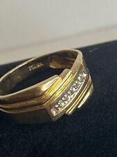 Diamond Signet Style Ring Size 10 Vintage Mens 10K Yellow Gold &
