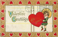 Postcard Valentine Greetings, Embossed, Posted 1913