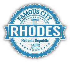 "Rhodes City Greece Grunge Travel Stamp Car Bumper Sticker Decal 5"" x 4"""