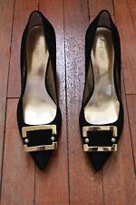 Nine West Black Suede Pumps with a Gold Buckle Size 7 1/2
