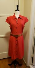 Tahari Poppy Red Retro A-Line Belted Tiger Eye Button Dress $148 - 14P 14 Petite