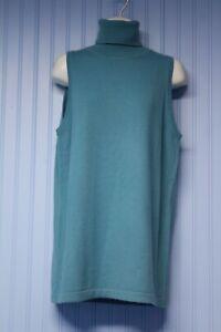 NWT Yansi Fugel 100% cashmere aqua sleeveless turtleneck sweater   Large