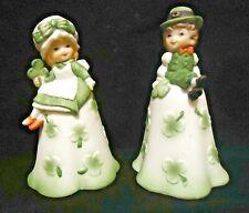 Vintage Pair Lego Shamrock Boy Girl Figurine Bell St Patrick Porcleain -o3