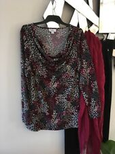 MILLERS Burgundy Grey Black White Cowl Neck Long Sleeve Stretch Top Blouse 14 12