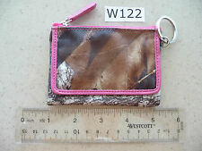 W122 Stylish Camo & Hot Pink Trim Coin Purse Key Chain ID Holder Compact Wallet