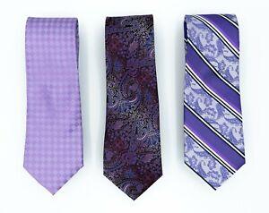 Purple Lavender Satin Neck Skinny Men Plaid Strip Check Paisley Tie  (Pack of 3)