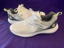 New listing Men's FootJoy FJ Flex Spikeless Golf Shoes White Sneakers #56101 - Size 10.5 EUC