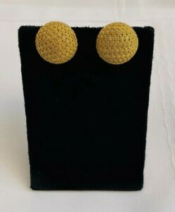 MAGNIFICENT PAIR OF FRENCH 14K YELLOW GOLD DOME WEAVE EARRINGS 'MUST SEE'