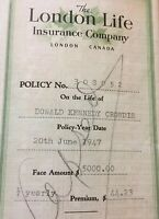 1947 London Life Insurance Papers For $5000, Vintage Canada Paper E85