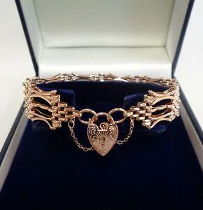 "Fine Fancy Gate Bracelet 375 (9ct) Rose Gold - Length 7 1/2"" (19 cm)"